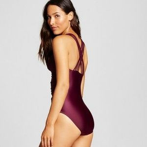 Merona Plum purple strappy back one piece swimsuit